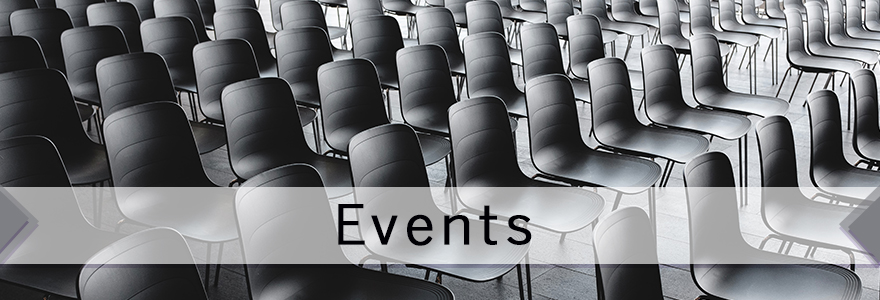 Empty chairs in room, text: events