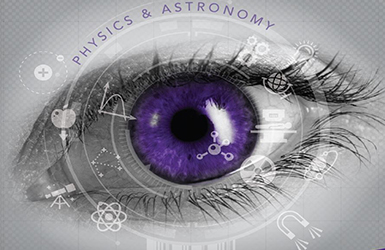Purple Eye with Physics and Astronomy Icons Surrounding